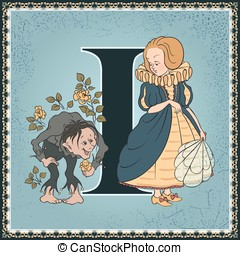 The Infant and the Dwarf - Vintage children book alphabet...