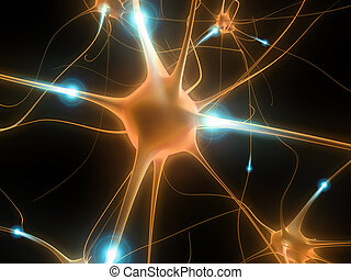 active nerve cell - 3d rendered illustration of a neuron...