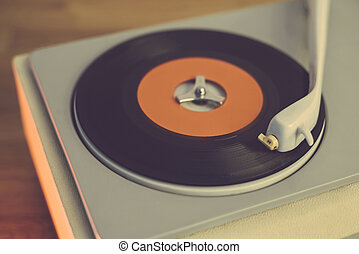 Retro record player from the sixties, close up