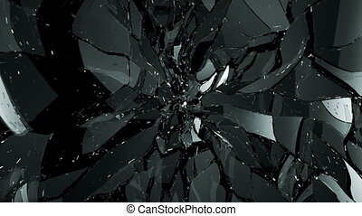 Glass shattered and broken slowmo - Glass shattered and...