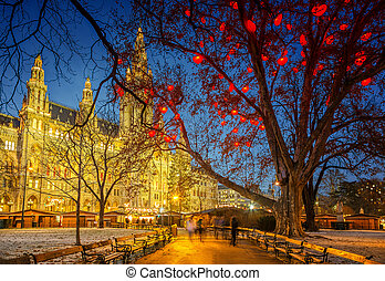 Vienna town hall - Vienna Town Hall at night
