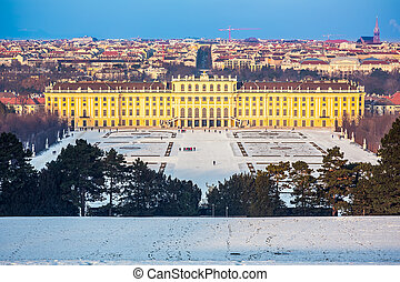 Schonbrunn Palace, Vienna - Schonbrunn Palace at winter,...