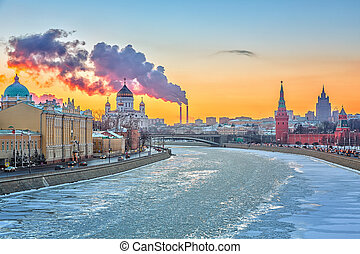 Winter in Moscow - Sunset over Moscow river, Moscow