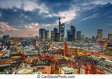 Frankfurt at dusk - Frankfurt am Main at dusk, Germany