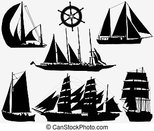 ships - Black silhouettes of ships and rudder, vector...
