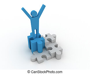 3d man on the top of success puzzle