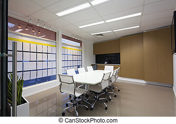 Board room with chairs and table - Board room with white...