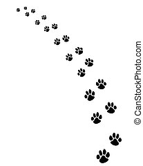footprints of dogs - Black footprints of dogs, turn...