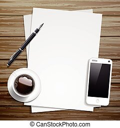 top view of blank paper and working place elements - blank...