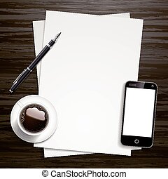 blank paper and working place elements isolated on wooden...