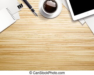 working place elements on wooden table - top view of working...