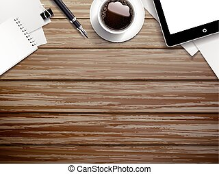 working place elements on wooden background - top view of...