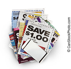 Coupon savings - Savings coupons held together by silver...
