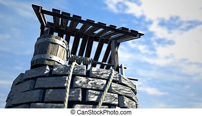 Wishing Well With Wooden Bucket - An upward view of a brick...