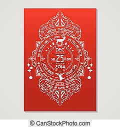 Christmas Invitation Card - Art Deco Style - Typography and...