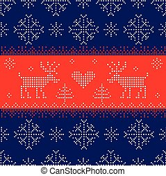 Scandinavian Style Seamless Pattern- Winter, Christmas, New Year Background - in vector