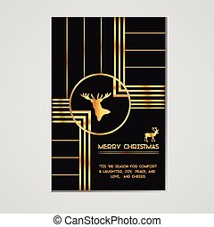 Christmas Invitation Card - Art Deco Style - Typography and Calligraphic Design - in vector