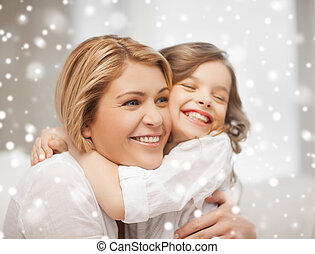 maison, heureux, fille, Étreindre, mère