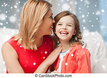happy mother and girl whispering into ear - people,...