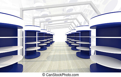 storage room - Futuristic abstract 3d illustration of...