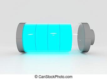 Full Blue Battery - 3D Full Blue Battery isolate on white...