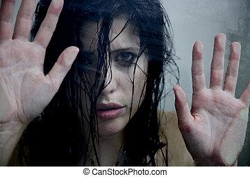 mulher, assustado, aproximadamente, Doméstico,...