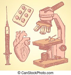 Sketch medical set in vintage style, vector