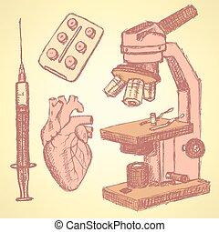 Sketch medical set in vintage style, vector