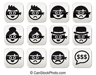 Thief man and woman faces in masks - Vector icons set of...
