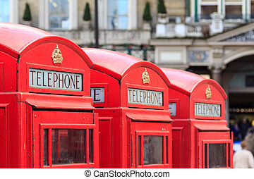 London telephone booths - Three typical London red telephone...