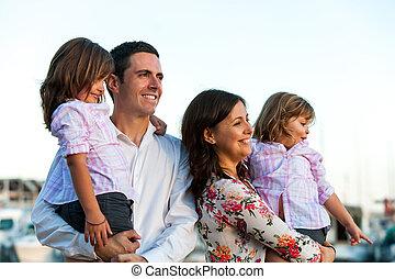 tramonto, giovane, famiglia, figlie