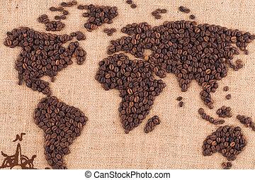 Handmade coffee map. - Close up of beautiful handmade coffee...