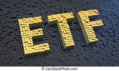 ETF cubics - Acronym 'ETF' of the yellow square pixels on a...