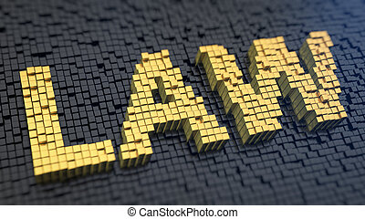 Law cubics - Word Law of the yellow square pixels on a black...