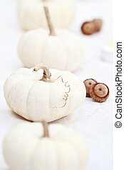 White Pumpkins and Acorns - Beautiful table decorations of...