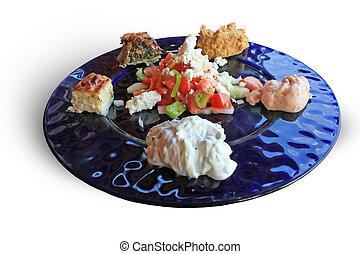 Greek starter plate - Om nom nom. A selection of food as a...