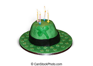 Green Irish Hat Cake - A green Irish hat cake with 4 lit...
