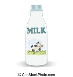milk bottle, illustration in vector format