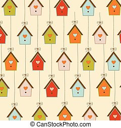 pattern with birdcages, illustration in vector format