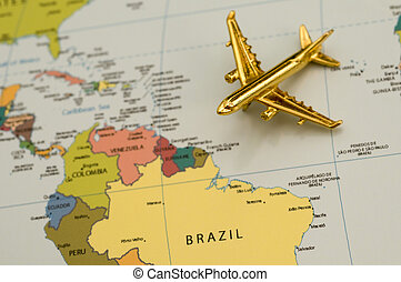 Plane Going to South America, Map is Copyright Free Off a...