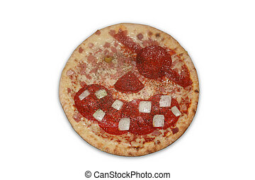 Pirate Pizza - A pizza with the toppings arranged to make a...