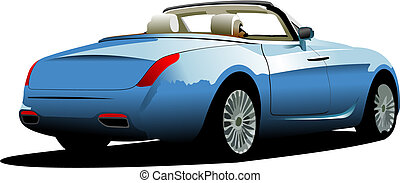 Blue  car cabriolet on the road. Vector illustration