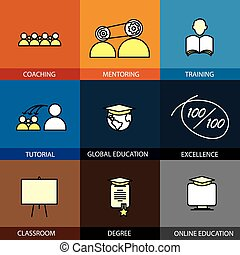 Flat design set of vector line icons of coaching mentoring...