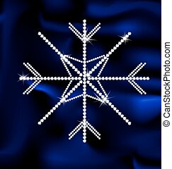 jewel snowflake - blue background silk and large jewel...