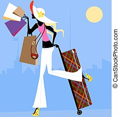 girl with suitcase - blonde girl with bags and with large...