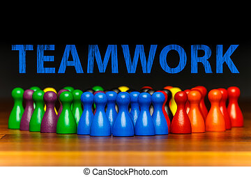 Concept teamwork, organization, group multi color text -...