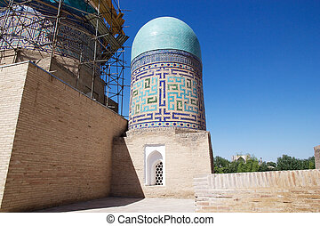 Samarkand - Details of one dome at the Double dome mausoleum...