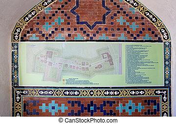 Samarkand - Shah-i-Zinda map, Samarkand, Uzbekistan...