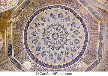 Samarkand - Shirin Beka Mausoleum dome at the Shah-i-Zinda,...
