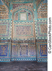 Samarkand - Islamic pattern and ornament in the mausoleum at...